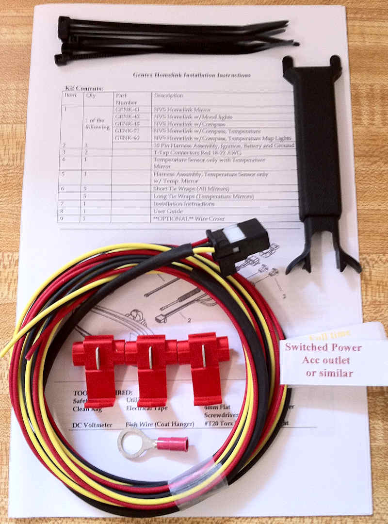 2012-2014.5 Toyota Camry Gentex Homelink or HL Compass Mirror Wiring Harness Kit